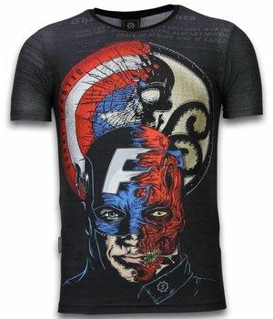 Local Fanatic Captain - Digital Rhinestone T-shirt - Zwart