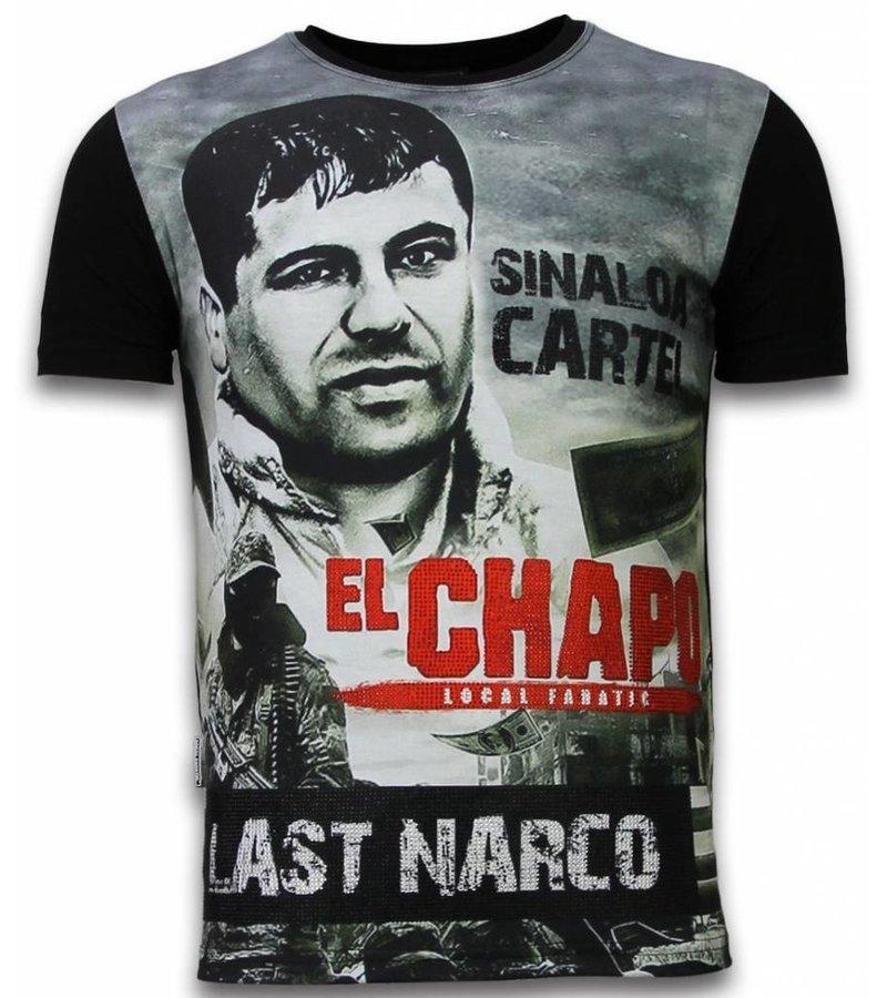 Local Fanatic El Chapo Last Narco  Rhinestone - Man t shirt - 11-6260Z - Svart