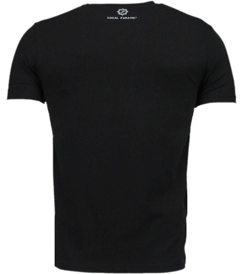 Local Fanatic Playtoy Megan Rhinestone - Herr t shirt - 11-6259Z - Svart