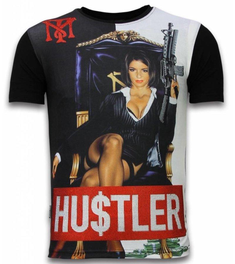 Local Fanatic Hu$tler  Digital Rhinestone - Herr t shirt - 11-6258Z - Svart