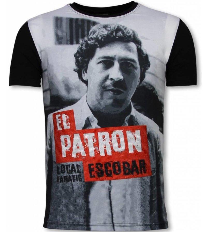 Local Fanatic El Patron Escobar Rhinestone - Man t shirt - 11-6255Z - Svart