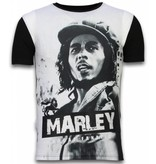 Local Fanatic Bob Marley Black And White - Herr t shirt - 11-6254Z - Svart