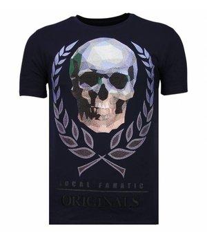 Local Fanatic Skull Originals Rhinestone - Herr T shirt - 13-6224N - Marinblå