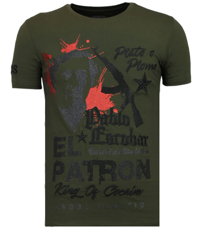 Local Fanatic El Patron Pablo  Rhinestone - Herr T shirt - 13-6236K - Khaki