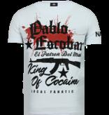Local Fanatic El Patron Pablo Rhinestone -Man T shirt  - 13-6236W - Vit