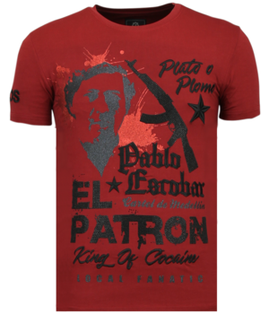 Local Fanatic El Patron Pablo Rhinestone - T shirt Herr - 13-6236B - Bordeaux