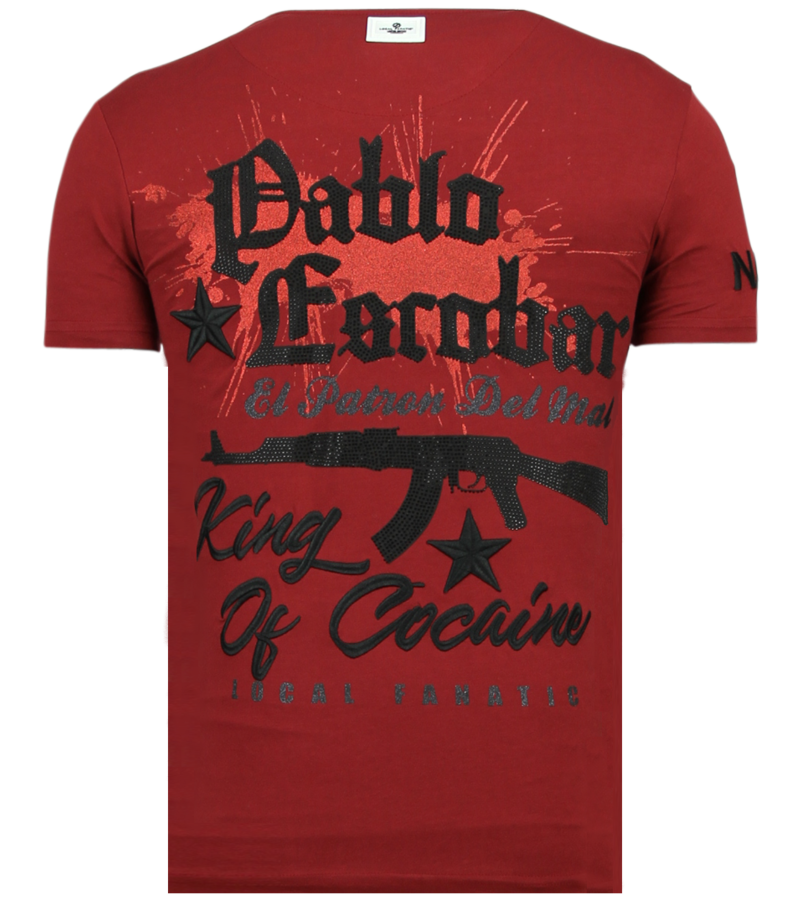 Local Fanatic El Patron Pablo Rhinestone - T shirt Herr - 13-6236B - Bordeaux