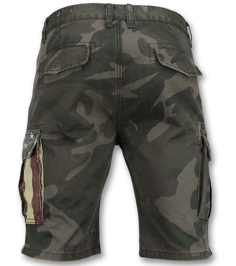 Enos Tuffa shorts herr - Shorts med många fickor - J-9017 - Grå / Grön