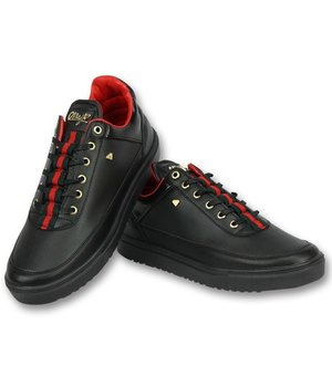 Cash Money Schoenen Kopen Heren Sneakers - Mannen Line Black Green Red - CMP11 - Zwart