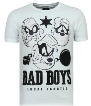 Local Fanatic Rhinestones Beagle Boys - Rolig T-shirt Man - 6319W - Vit