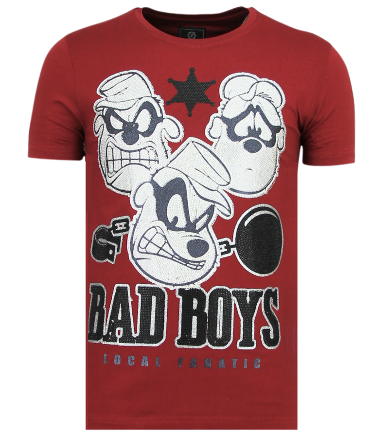Local Fanatic Beagle Boys Rhinestones - Rolig T-shirt Man - 6319B - Bordeaux