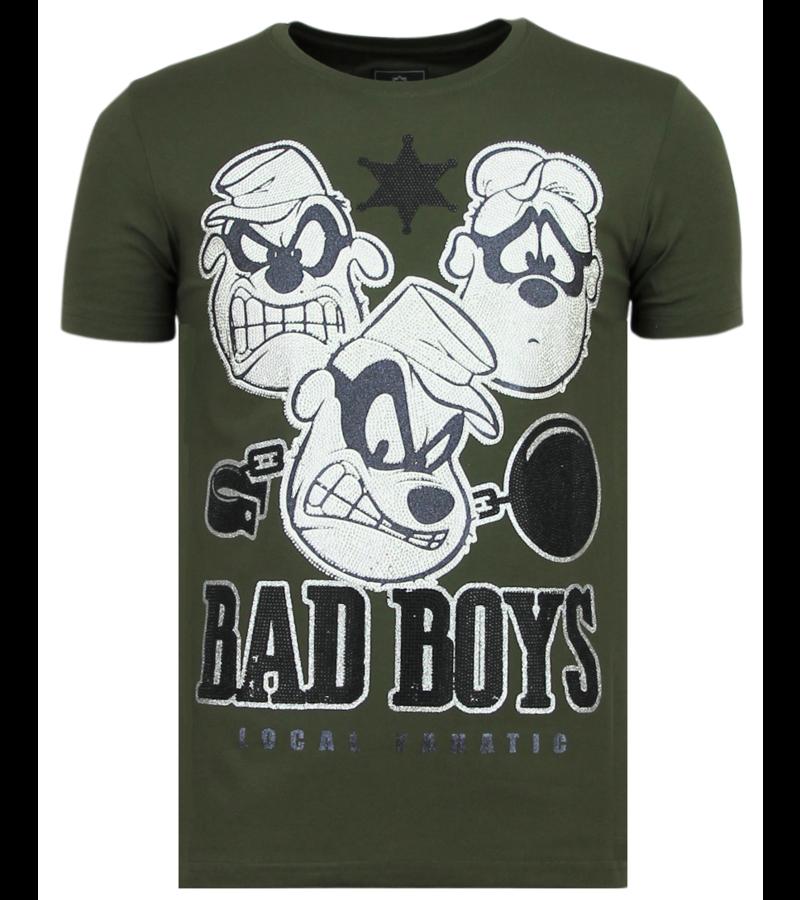 Local Fanatic Beagle Boys Rhinestones - Rolig T-shirt Herr - 6319G - Grön