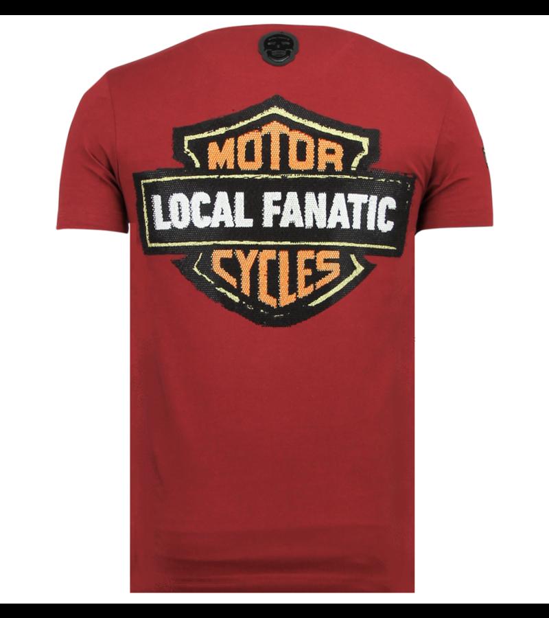 Local Fanatic Dynamite Coyote Rhinestones - Tryckt T-shirt Herr - 6320B - Bordeaux