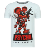 Local Fanatic Rhinestones Psycho Mouse  - Tryckt T-shirt Herr - 6321W - Vit