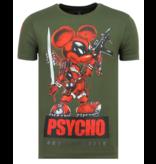 Local Fanatic Psycho Mouse Rhinestones  - Tryckt T-shirt Herr - 6321G - Grun