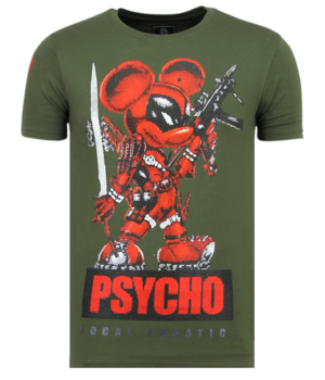 Local Fanatic Psycho Mouse Rhinestones  - Tryckt T-shirt Herr - 6321G - Grun