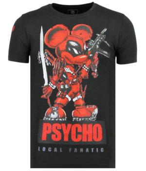 Local Fanatic Psycho Mouse - Tryckt T-shirt Herr - 6321Z - Svart
