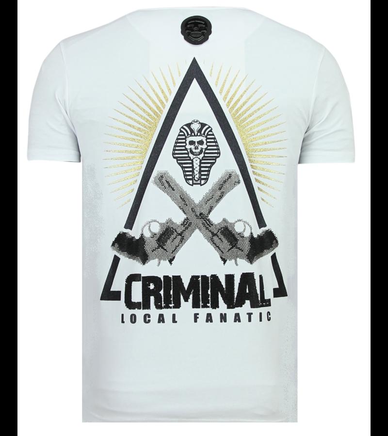 Local Fanatic Rebel Pharaoh Rhinestones - Exklusiv T-shirt Herr - 6322W - Vit