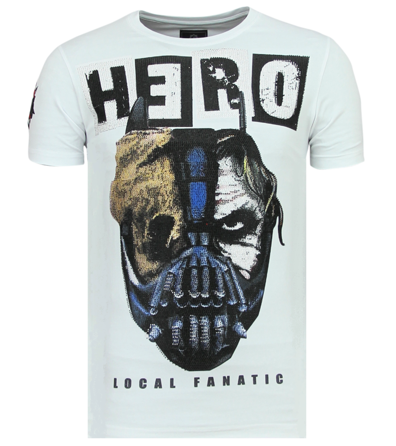 Local Fanatic Hero Mask Rhinestones - Sommar T-shirt Man - 6323W - Vit
