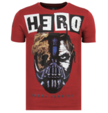 Local Fanatic Hero Mask Rhinestones - Sommar T-shirt Herr - 6323B - Bordeaux