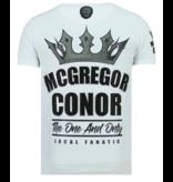 Local Fanatic Rhinestones King Notorious - Slim fit T shirt Man - 6324W - Vit