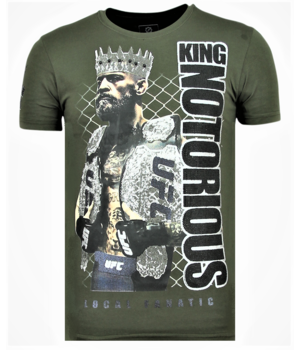 Local Fanatic King Notorious Rhinestones - Slim fit T shirt Man - 6324G - Grun