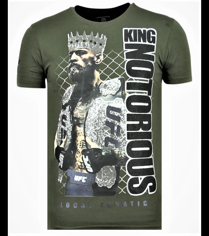 Local Fanatic King Notorious Rhinestones - Slim fit T shirt Man - 6324G - Grun