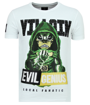 Local Fanatic Villain Duck Rhinestones - T shirts På Nätet Herr - 6325W - Vit