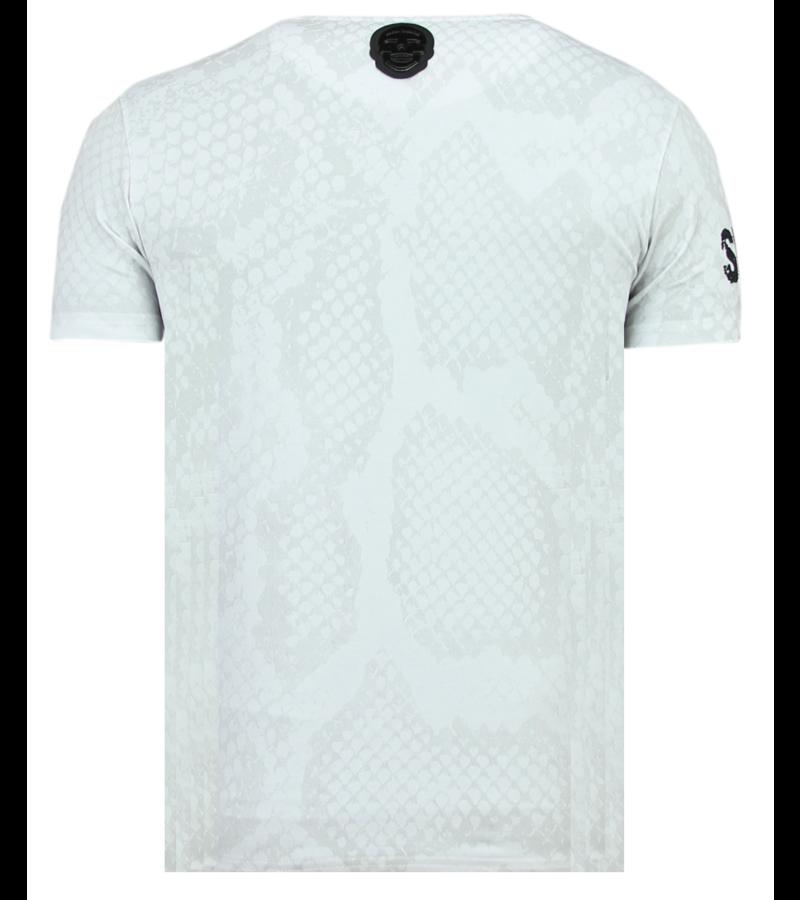 Local Fanatic Skull Snake Rhinestones - Dödshuvudet T-shirt Herrar - 6326W - Vit