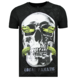 Local Fanatic Skull Snake Rhinestones - T-shirt Herrar - 6326Z - Svart