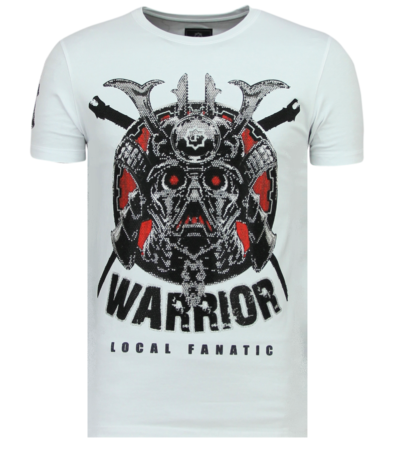 Local Fanatic Savage Samurai Rhinestones - Roliga Tröjor För Män - 6327W - Vit