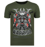 Local Fanatic Savage Samurai Rhinestones - Herr T-shirt - 6327G - Grun