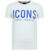 Local Fanatic T Shirt ICONS Print - Tröjor Till Män New - 6361W - Vit