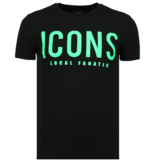Local Fanatic ICONS Print T Shirt - Beställa Kläder Med Tryck - 6361Z - Svart