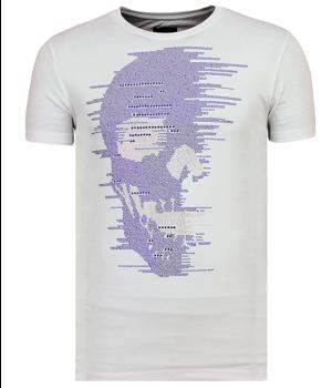 Local Fanatic T shirt Skull Glitter - Tuffa Kkjortor Med Rhinestones - 6338W - Vit
