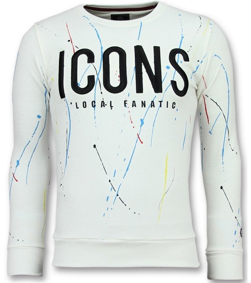Local Fanatic ICONS Painted - Sweater For Herr - 6341W - Vit