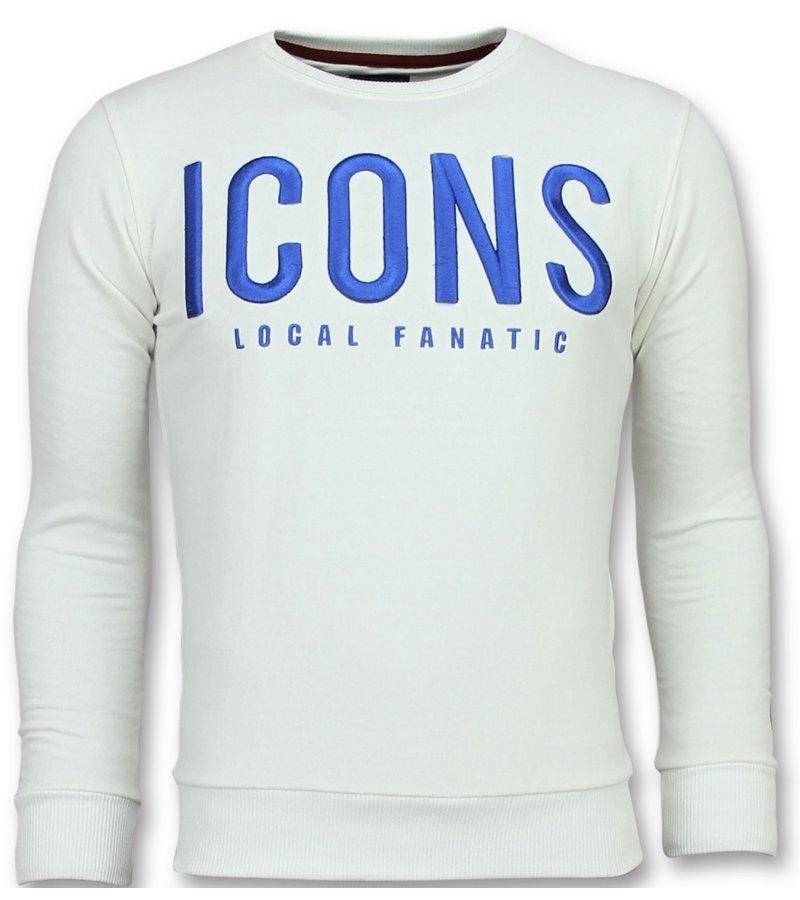 Local Fanatic ICONS Sweater Herr - New Tröjor Män - 6349W - Vit
