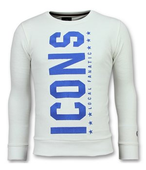 Local Fanatic ICONS Vertical Sweater - Herr Tryck På Tröja - 6353W - Vit