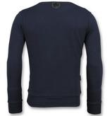 Local Fanatic ICONS Vertical Sweater - Tryck På Tröja Herr - 6353N - Marinblå