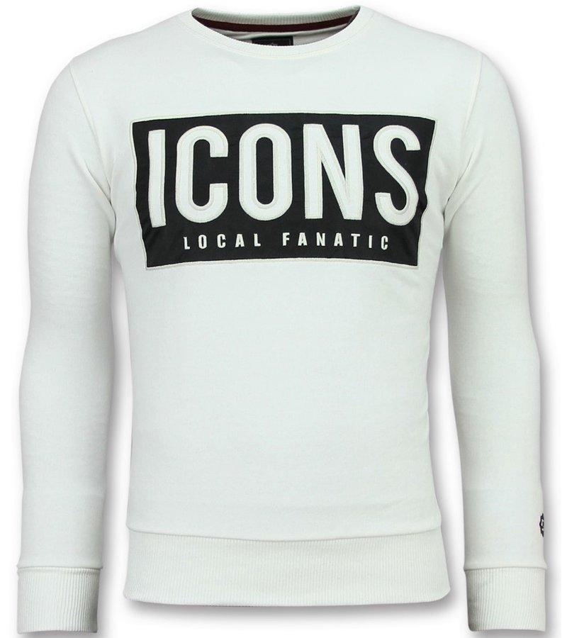 Local Fanatic Tröjor ICONS Block - Trevlig Tröja Man - 6355W - Vit