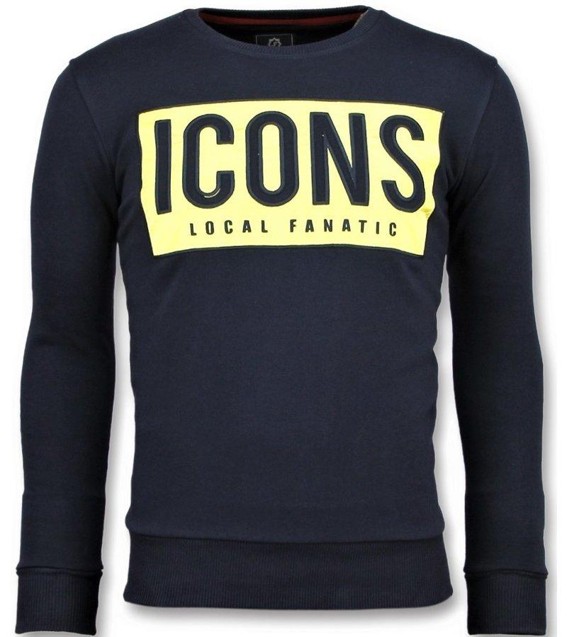 Local Fanatic Tröjor ICONS Block  -  Trevlig Tröja Herr - 6355B - Marinblå