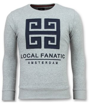 Local Fanatic Greek Border Sweater - Tryck På Tröja Man - 6350G - Grå