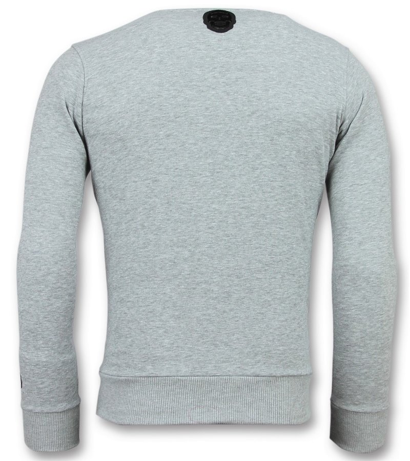 Local Fanatic Greek Border Sweater - Tryck På Tröja Man - 6350G - Grå