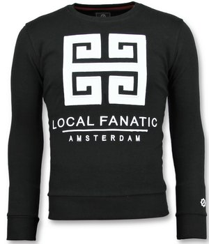 Local Fanatic Greek Border Sweater - Tryck På Tröja Herr - 6350Z - Svart