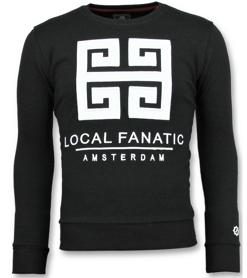 Local Fanatic Greek Border Sweater - Tryck På Tröja Herr - 6350Z - Svart