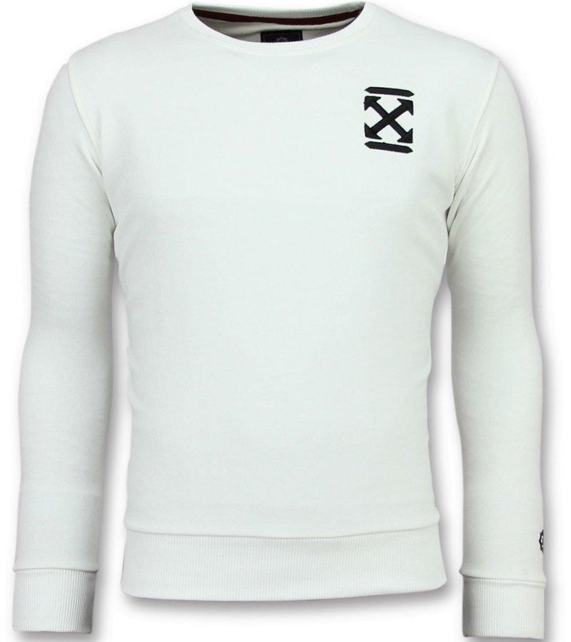Local Fanatic Off Cross Sweater  - New Sweatshirt Herr - 6356W - Vit