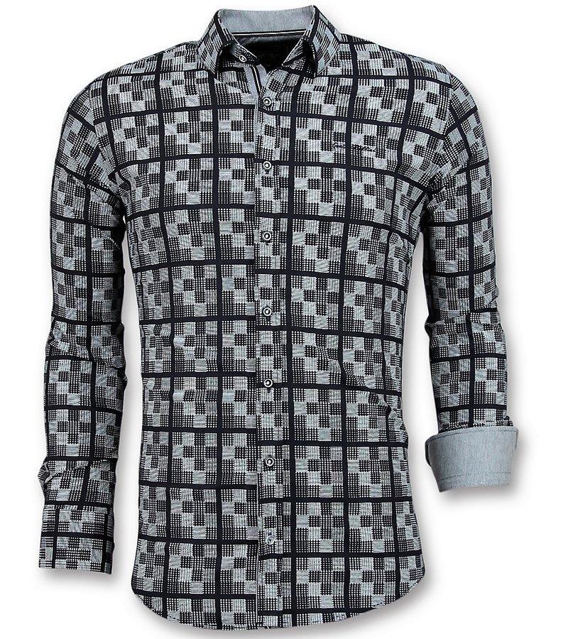 Gentile Bellini Italienska Skjortor För Män - Schess Motif Blouse - 3020 - Blå