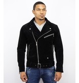 Warren Webber Suede Biker Jacka - Fake Leather Jacket - WW6609Z - Svart