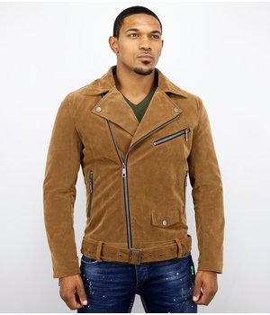 Warren Webber Herr Suede Biker Jacka - Fake Leather Jacket - WW6609B - Brun