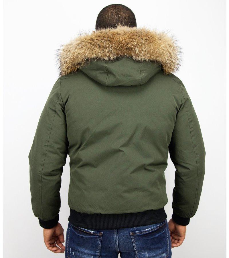 Enos Kort Jacka Med Pälskrage - Snygga Jackor Herr - PI-7015R - Grön